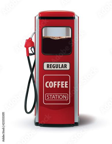Pompa gazu z dozownikiem kawy. Kawa Metafora to siła dla ludzi. Kreatywnych ilustracji wektorowych 3d