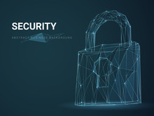 Abstract Modern Business Background Depicting Security With Stars And Lines In Shape Of A Padlock On Blue Background.