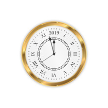 2019 New Year Golden Clock. Round Retro Clock With Roman Numbers. Couple Minutes Untill New Year 2019.