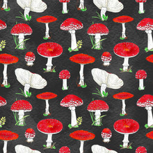 Watercolor Seamless Pattern With Red Toadstool Mushrooms, Hand Drawn Illustration