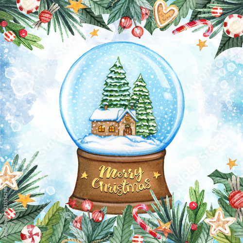 Merry Christmas Greeting Card With Crystal Snow Globe House