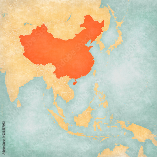 Fotografie, Obraz Map of East Asia - China