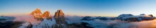 Beautiful Dolomites Peaks Panoramic View