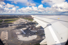 Aerial View Of Copenhagen Airport Or Kastrup Airport From Window Seat Of Airplane Takeoff Over Copenhagen Airport For Passenger Transportation In Denmark To Another Location In Europe