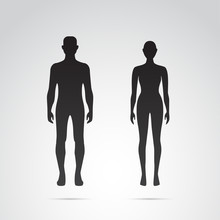 Silhouette Of Man And Woman. B...