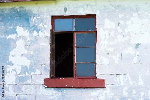 Abandoned Building Crimson and White, Concrete and Wood - Paint Frayed - Window Canvas Print