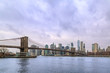 Brooklyn bridge and lower Manhattan from Brooklyn in New York, NY, USA