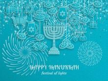 Hanukkah Greeting Card With Torah, Menorah And Dreidels. Turquoise Template