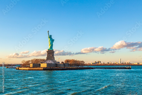 Tablou Canvas Statue of liberty horizontal during sunset in New York City, NY, USA