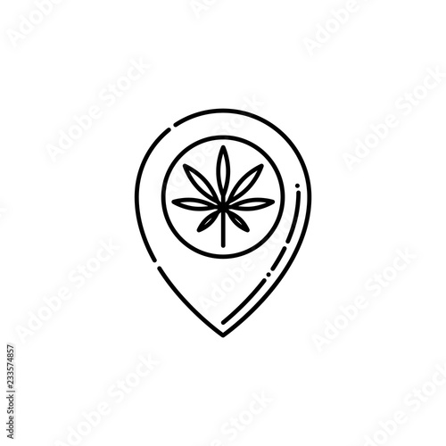 Pinpoint with marijuana leaf inside line icon - thin outline