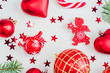 Christmas decoration collection: hearts, branches, Christmas candy, Christmas tree, balls, angel, bell, top view