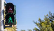 Green Traffic Lights For Pedestrians, Blue Sky Background
