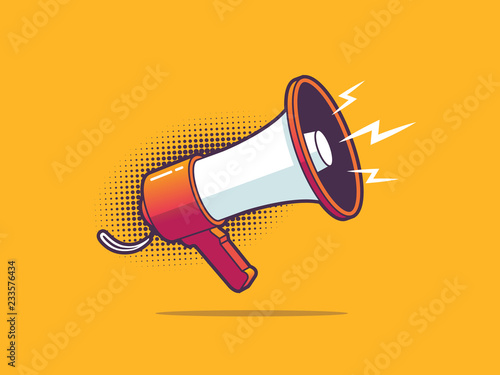 Bullhorn - megaphone vector illustration in pop art style