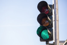 Green Traffic Lights For Cars, Blue Sky Background