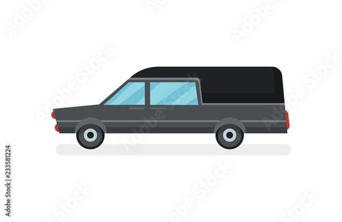 Photo  Flat vector icon of black hearse