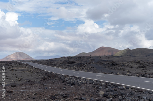 Poster Taupe Road in the volcanic area of Lanzarote, Spain