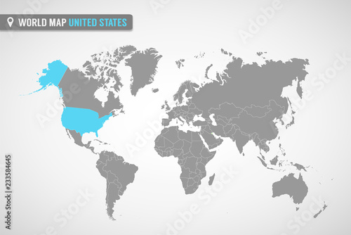 World map with the identication of United States. Map of ...