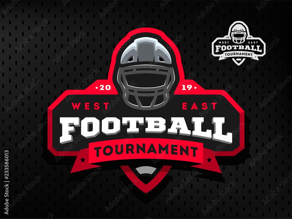 Godło turnieju futbolu amerykańskiego, logo na ciemnym tle.