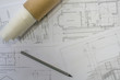 Architect concepts, Construction / building plans with equipment in the office