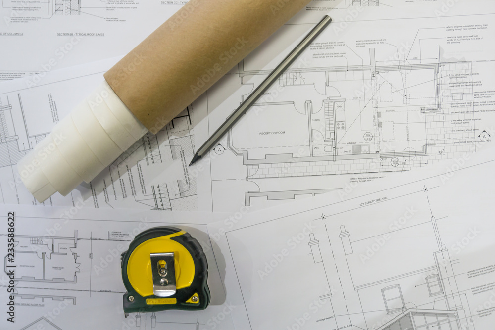 Photo Art Print Architect Concepts Construction Building Plans With Equipment In The Office Europosters