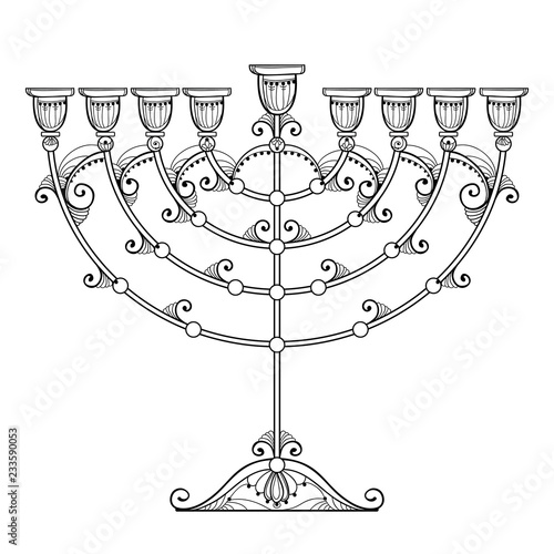 Fototapeta Vector drawing of outline Hanukkah menorah or Chanukiah candelabrum in black isolated on white background