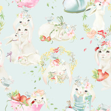 Cute White Bunny With Flowers And Tied Bows Seamless, Tileable Pattern
