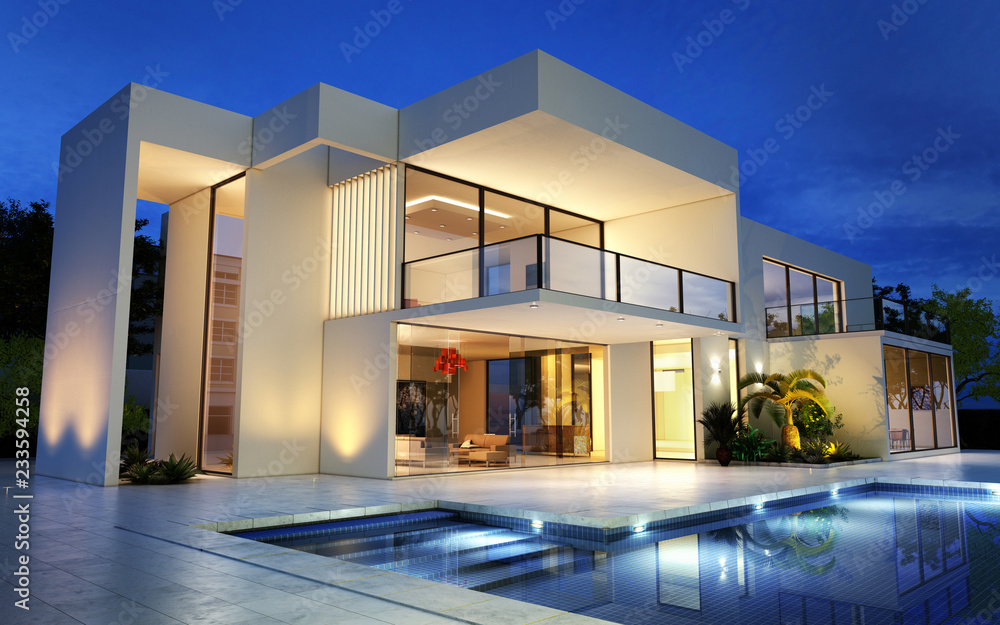 Fototapeta Upscale modern mansion with pool