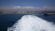 Ferry leaves Tarifa harbor in Spain