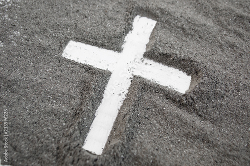 Fotografía Cross made of ashes, Ash Wednesday, Lent season vintage abstract background