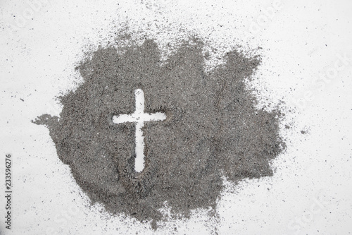 Fotografie, Obraz  Cross made of ashes, Ash Wednesday, Lent season vintage abstract background