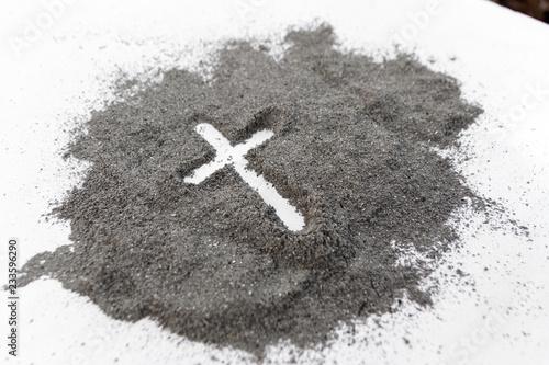 Cross made of ashes, Ash Wednesday, Lent season vintage abstract background Obraz na płótnie