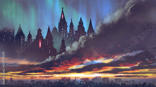 Foto auf Leinwand Aubergine lila sunset scenery of the dark castles on black clouds above the city, digital art style, illustration painting