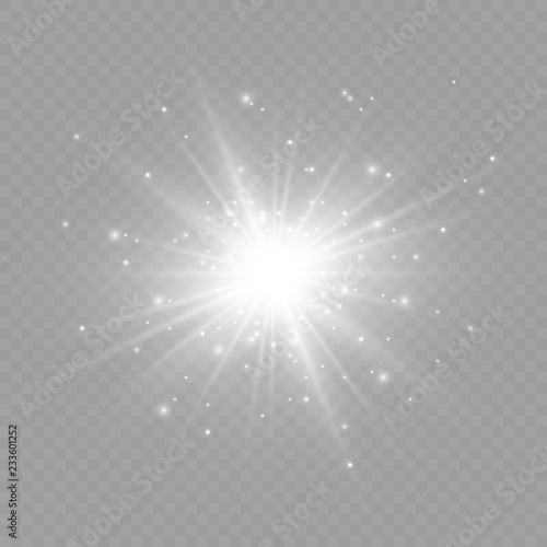 Fototapeta White glowing light.Vector transparent sunlight special lens flare effect. Bright beautiful star. Light from the rays. obraz na płótnie