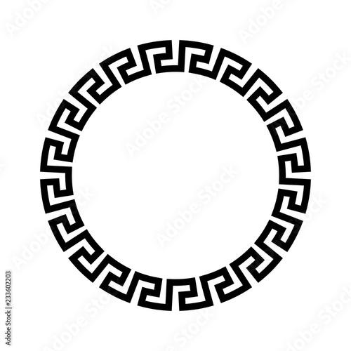 Circle frame of simple greek pattern. Black vector illustration. Fototapete