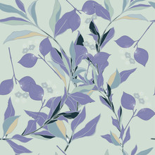Dark Purple Circles, Blue, Green Flowers And Leaves On Army Green Background. Abstract Floral Pattern In Lilac And Green. Seamless Vector Pattern.