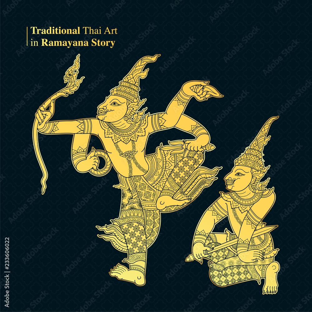 Photo & Art Print Traditional Thai Art in Ramayana Story