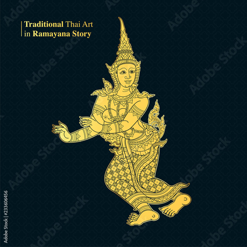 Fotomural Traditional Thai Art in Ramayana Story, style vector