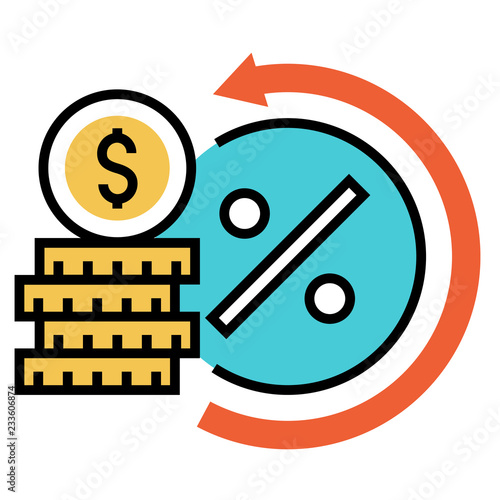 Fotografía  Interest rate FlatOutline illustration