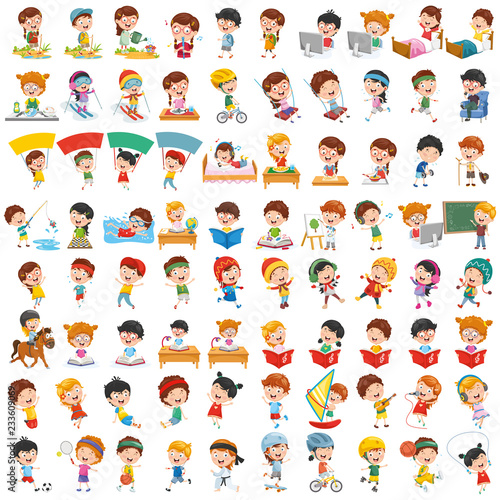 Fototapeta  Vector Collection Of Cartoon Children