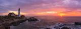 Portland Head Lighthouse Panorama at sunrise in Cape Elizabeth, Maine