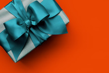 Gift Box With Turquoise Ribbon...