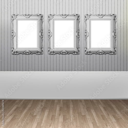 Three Blank Baroque Picture Frames On Silver Striped