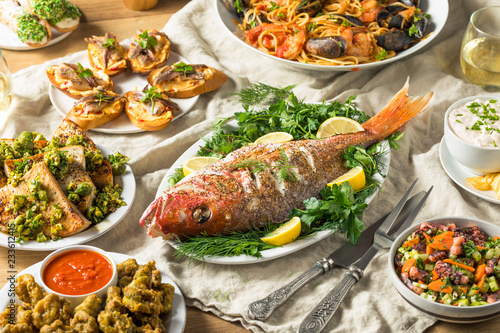Holiday Italian Feast of 7 Fishes Wallpaper Mural