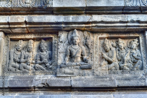 Poster Monument Relief panel of Prambanan Temple,Central Java,Indonesia,Asia