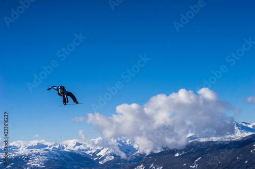 Snowboarder in blue Canvas Print