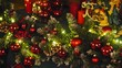 Christmas decorations on the branches fir 4K