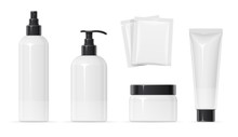 Set Of Plastic Container For Cream Spray, Balm And Shampoo