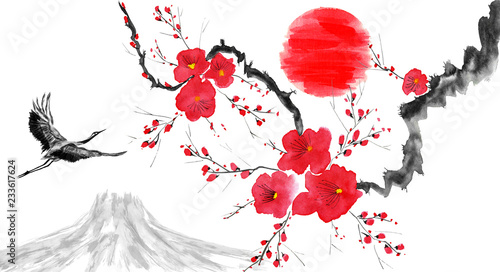 Photo  Oriental  traditional sumi-e painting