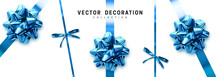 Bows Blue Realistic Design. Decorative Gift Bows With Ribbons Isolated On White Background