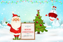 Merry Christmas. Happy New Year. Cheerful Santa Claus Holds Wooden Message Board, Snowman In Christmas Snow Scene Winter Landscape With Falling Snow, Garlands. Happy Santa Claus Cartoon Character